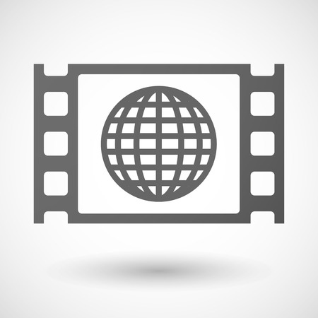 35mm: Illustration of a 35mm film frame with a world globe Illustration