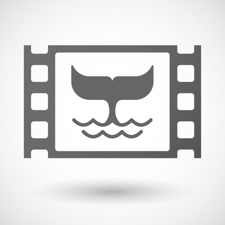 tail: Illustration of a 35mm film frame with a whale tail Illustration