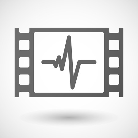 35mm: Illustration of a 35mm film frame with a heart beat sign