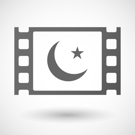 35mm: Illustration of a 35mm film frame with an islam sign Illustration