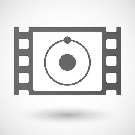 35mm: Illustration of a 35mm film frame with an atom Illustration