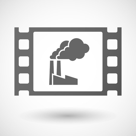 35mm: Illustration of a 35mm film frame with a factory Illustration