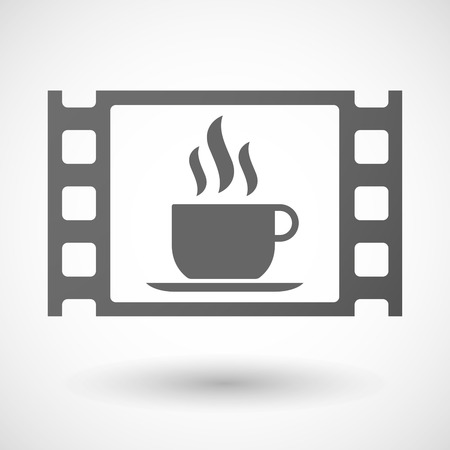 documentary: Illustration of a 35mm film frame with a cup of coffee