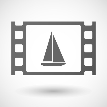 documentary: Illustration of a 35mm film frame with a ship
