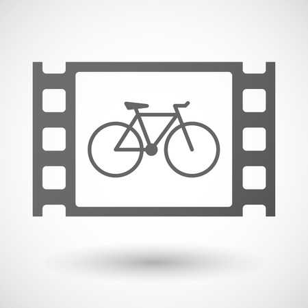 35mm: Illustration of a 35mm film frame with a bicycle