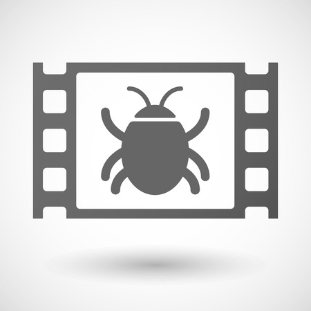 documentary: Illustration of a 35mm film frame with a bug Illustration