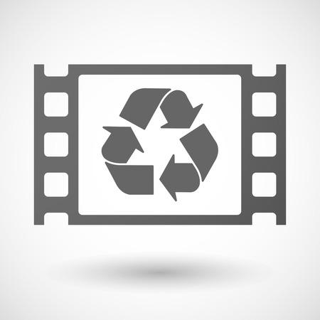 documentary: Illustration of a 35mm film frame with a recycle sign