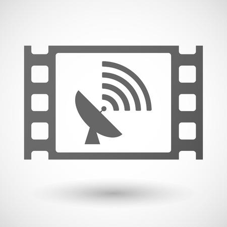 35mm: Illustration of a 35mm film frame with a satellite dish Illustration