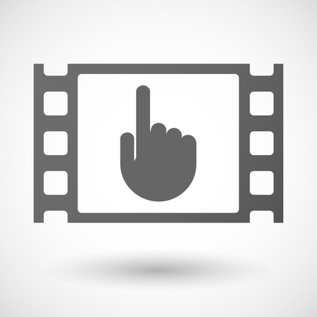 35mm: Illustration of a 35mm film frame with a pointing hand