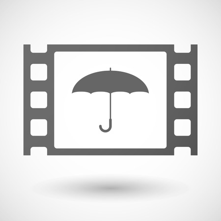 35mm: Illustration of a 35mm film frame with an umbrella