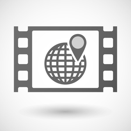 documentary: Illustration of a 35mm film frame with a world globe Illustration