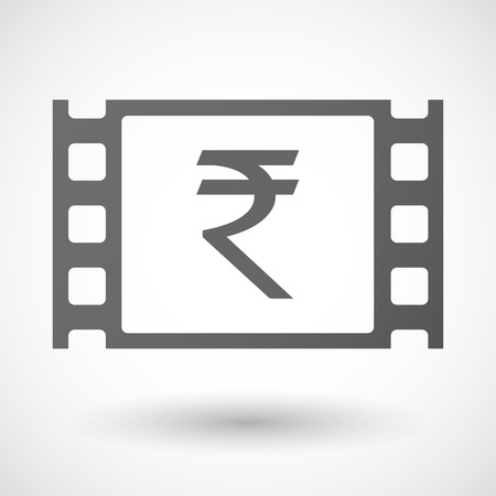 35mm: Illustration of a 35mm film frame with a rupee sign