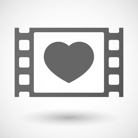 35mm: Illustration of a 35mm film frame with a heart Illustration