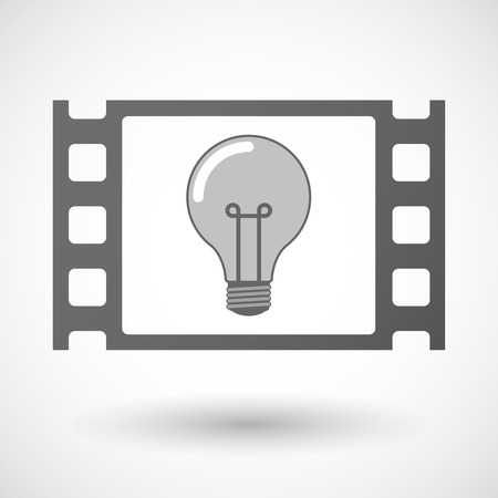 35mm: Illustration of a 35mm film frame with a light bulb