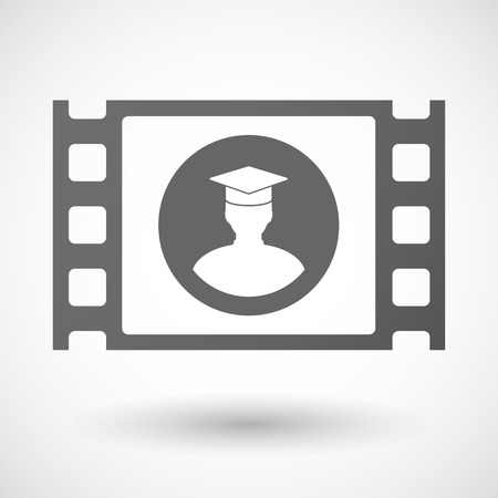 35mm: Illustration of a 35mm film frame with a student
