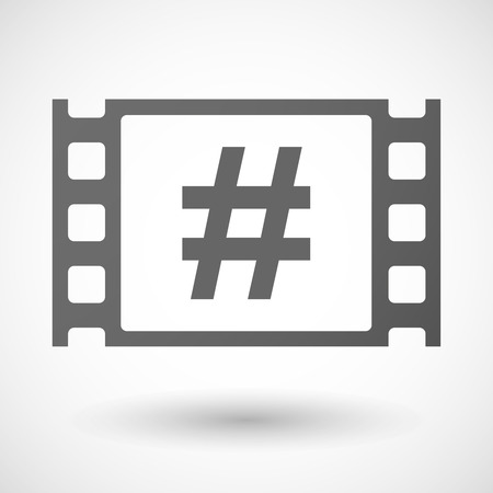 35mm: Illustration of a 35mm film frame with a hash tag