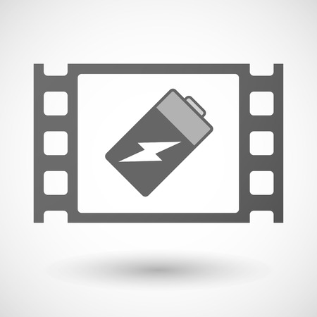 35mm: Illustration of a 35mm film frame with a battery