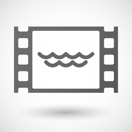 35mm: Illustration of a 35mm film frame with a water sign Illustration