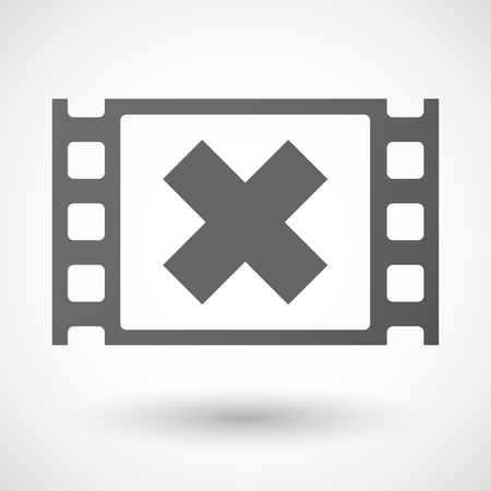 35mm: Illustration of a 35mm film frame with an x sign Illustration