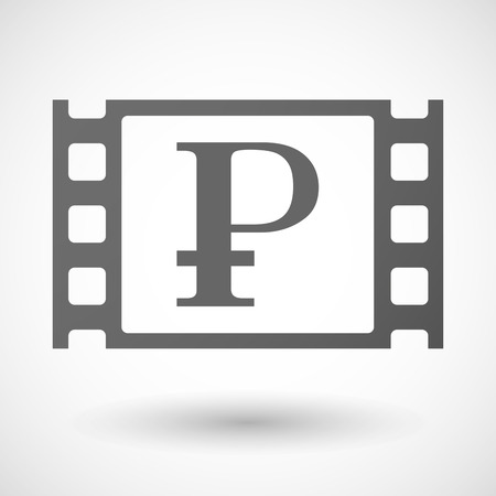 35mm: Illustration of a 35mm film frame with a ruble sign Illustration