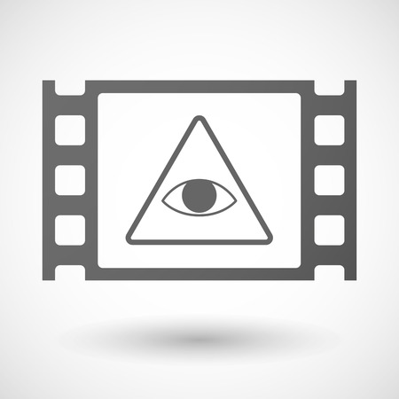 seeing: Illustration of a 35mm film frame with an all seeing eye