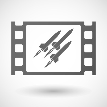 nuclear weapons: Illustration of a 35mm film frame with missiles Illustration