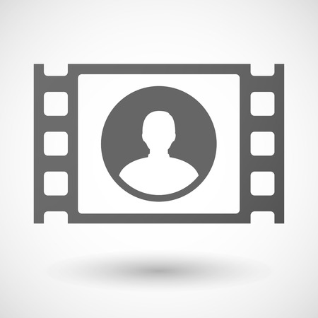 35mm: Illustration of a 35mm film frame with a male avatar Illustration