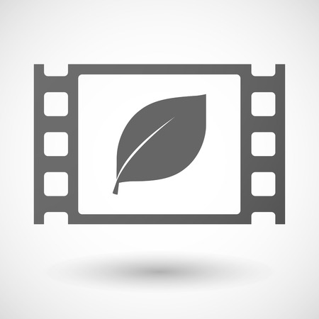 documentary: Illustration of a 35mm film frame with a leaf