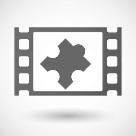 documentary: Illustration of a 35mm film frame with a puzzle piece