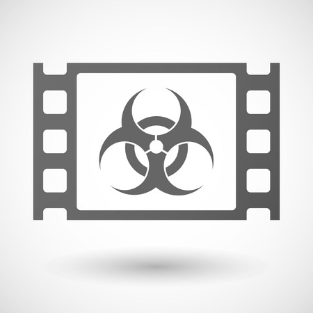 35mm: Illustration of a 35mm film frame with a biohazard sign