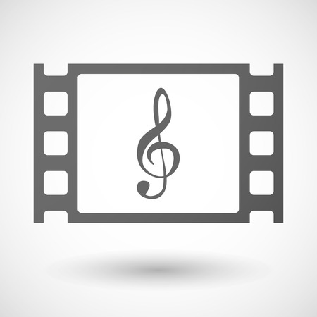 35mm: Illustration of a 35mm film frame with a g clef