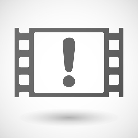 35mm: Illustration of a 35mm film frame with an exclamarion sign