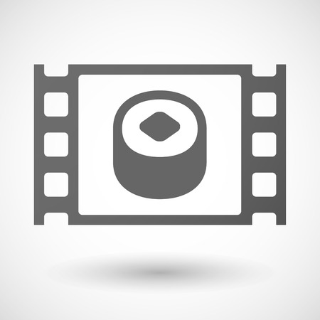 cuisine entertainment: Illustration of a 35mm film frame with a piece of sushi Illustration
