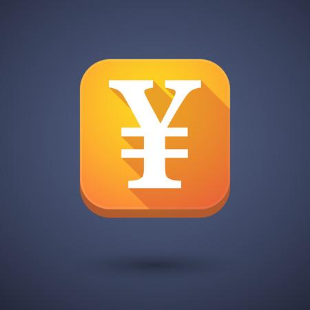 yen sign: Ilustraci�n de un bot�n de aplicaci�n con un signo de yenes