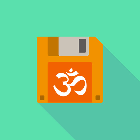 zen aum: Illustration of a long shadow floppy icon with an om sign