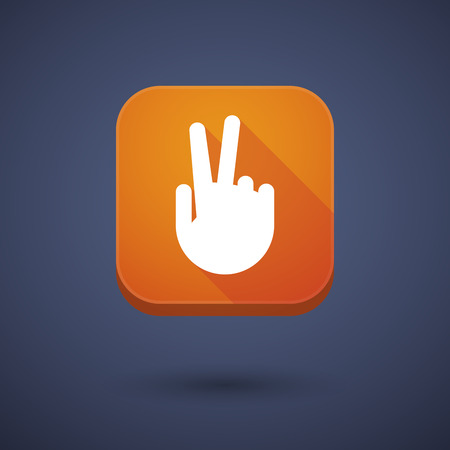 Illustration of an app button with a victory hand