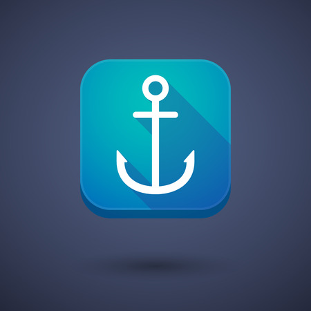 nautic: Illustration of an app button with an anchor Illustration