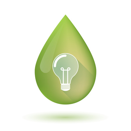 Illustration of an isolated olive oil drop icon with a light bulb