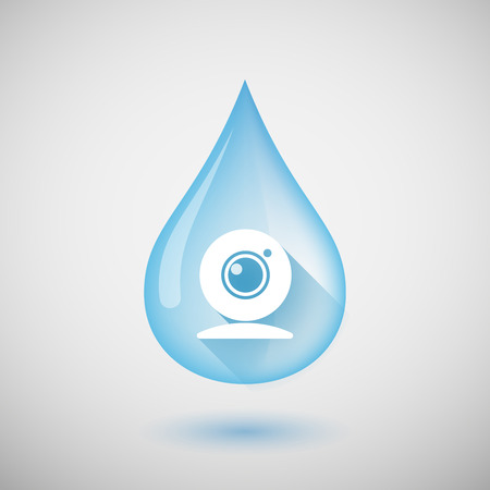 drinking water sign: Illustration of a long shadow water drop icon with a web cam