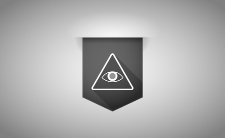 all seeing eye: Illustration of a long shadow ribbon icon with an all seeing eye Illustration