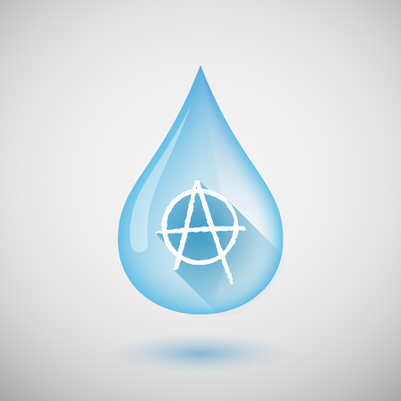 anarchist: Illustration of a long shadow water drop icon with an anarchy sign Illustration
