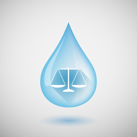 Illustration of a long shadow water drop icon with a justice weight scale sign