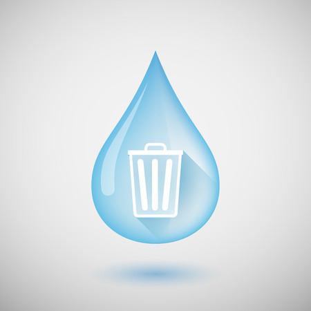 bucket water: Illustration of a long shadow water drop icon with a trash can