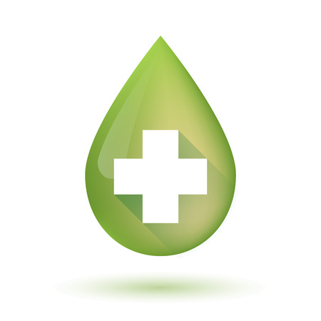 pharmacy sign: Illustration of an isolated olive oil drop icon with a pharmacy sign