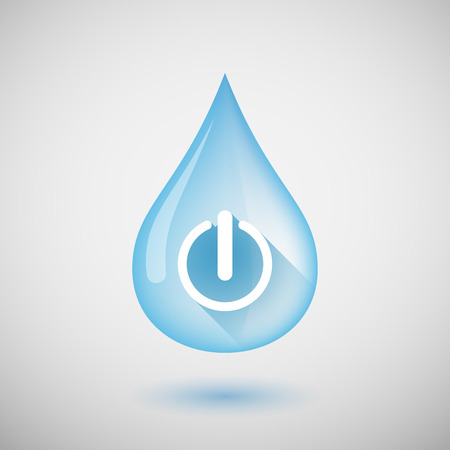 drop off: Illustration of a long shadow water drop icon with an off button Illustration