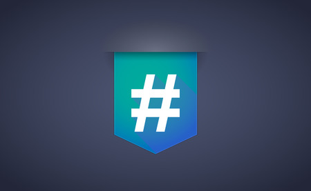 hash: Illustration of a long shadow ribbon icon with a hash tag Illustration