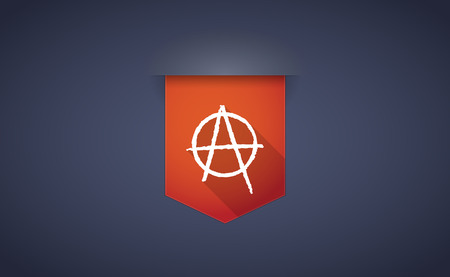 anarchist: Illustration of a long shadow ribbon icon with an anarchy sign Illustration