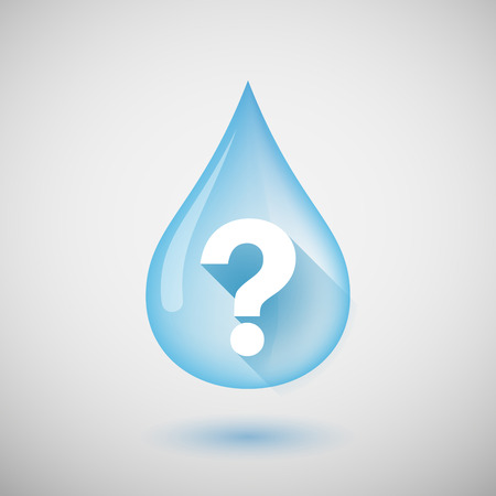 Illustration of a long shadow water drop icon with a question sign