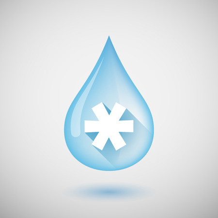 asterisk: Illustration of a long shadow water drop icon with an asterisk