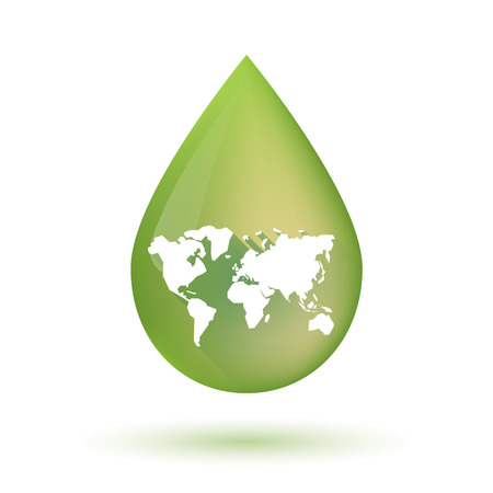 olive green: Illustration of an isolated olive oil drop icon with a world map